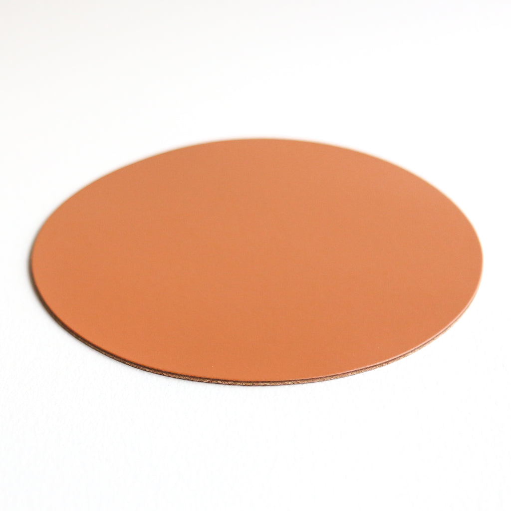Round Leather Placemat - Tan