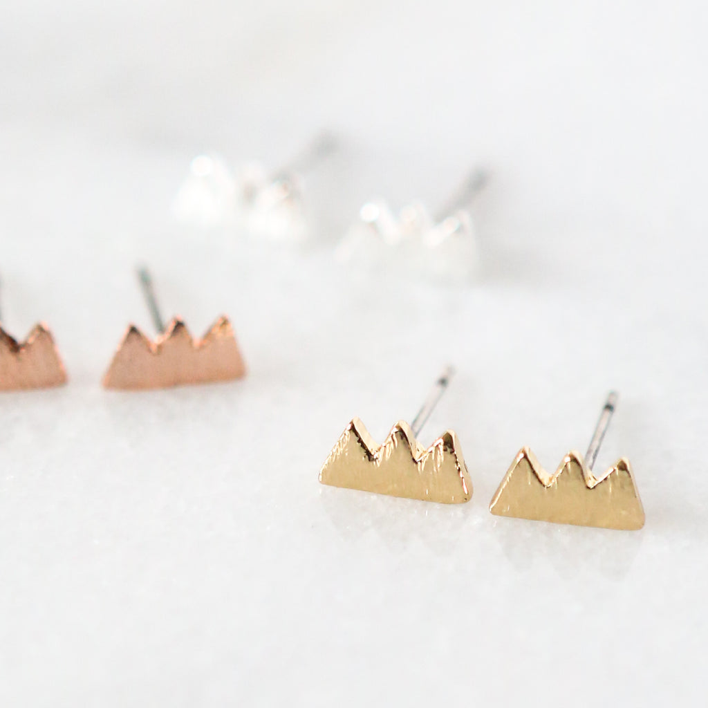 Peaked Mountain Stud Earrings
