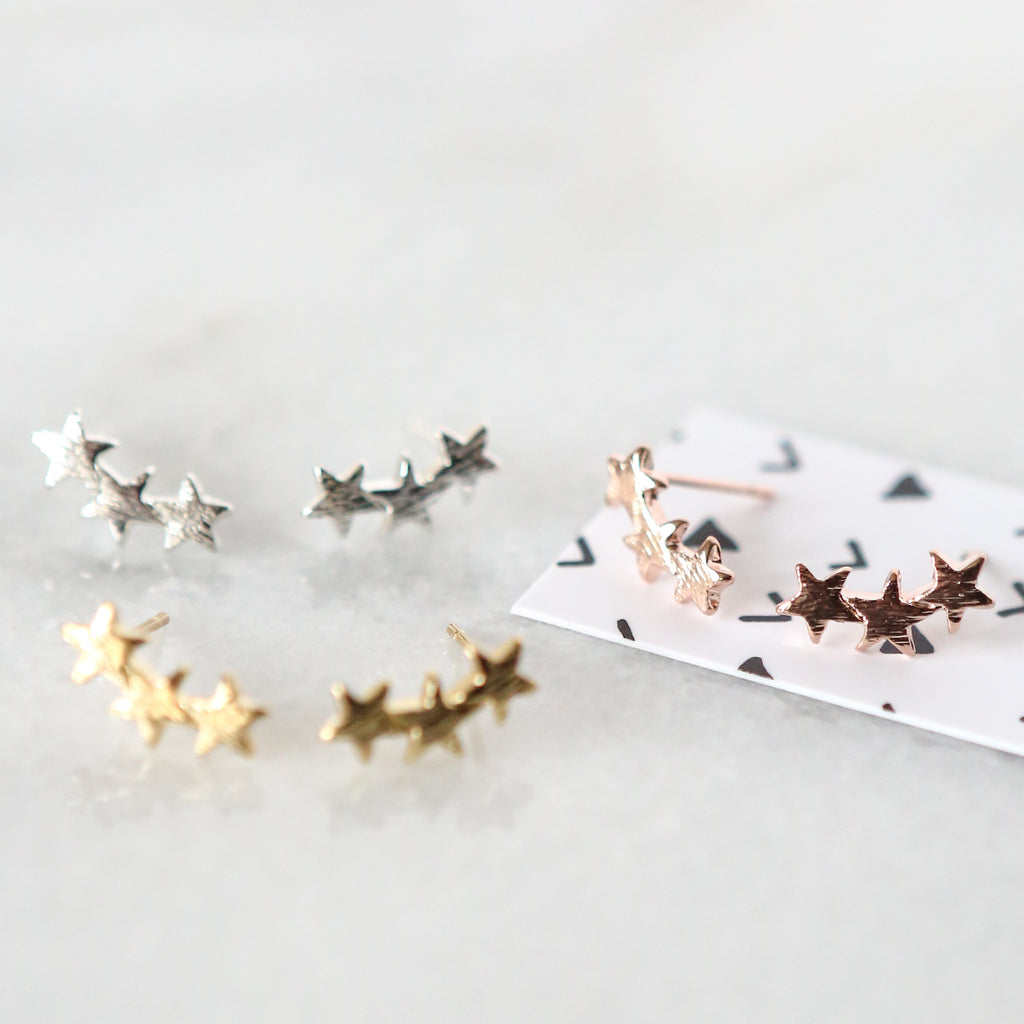 Star Ear Climber Stud Earrings