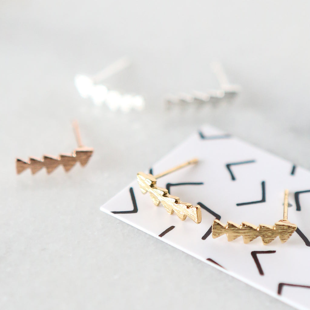 Triangle Ear Climber Stud Earrings