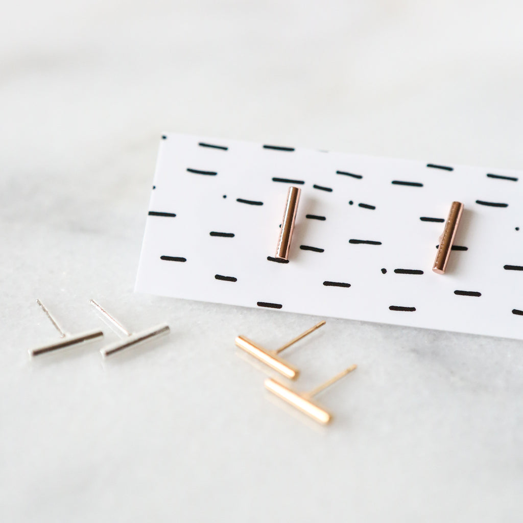 Skinny Bar Stud Earrings