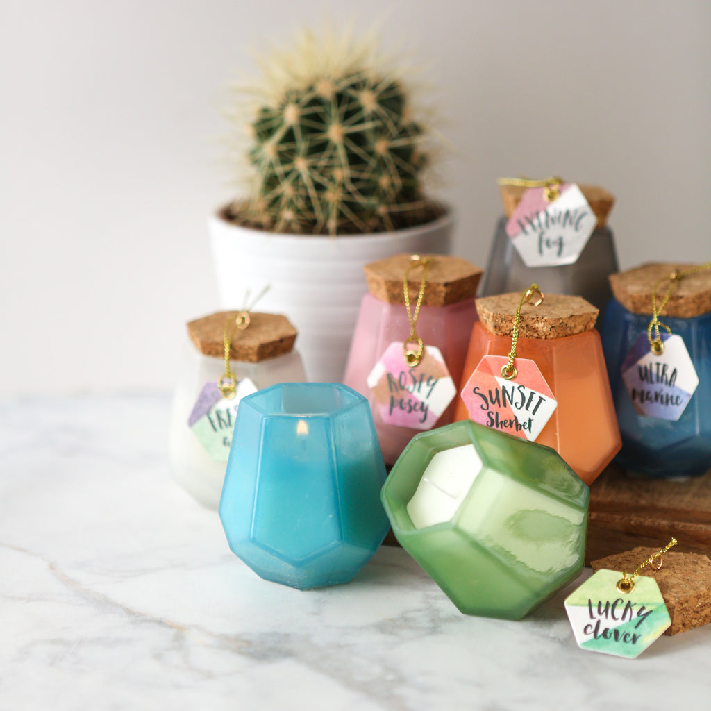 Rosey Posey Prism Gem Shaped Soywax Candle
