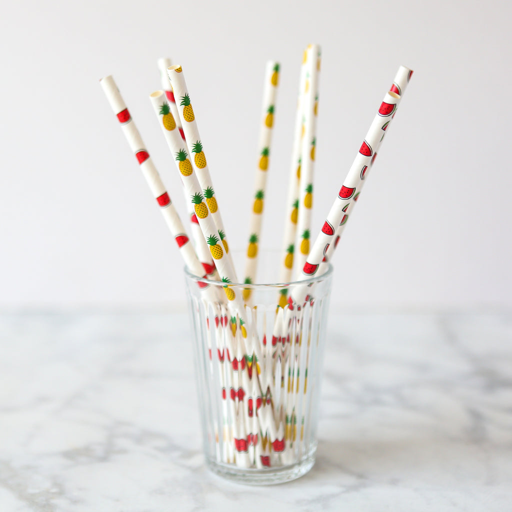 Pineapple & Watermelon Paper Straws