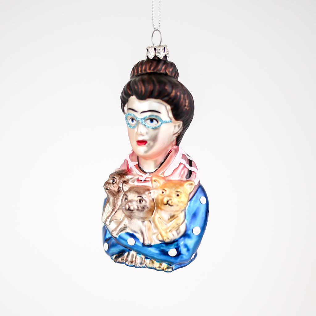 Cat Lady Glass Decoration