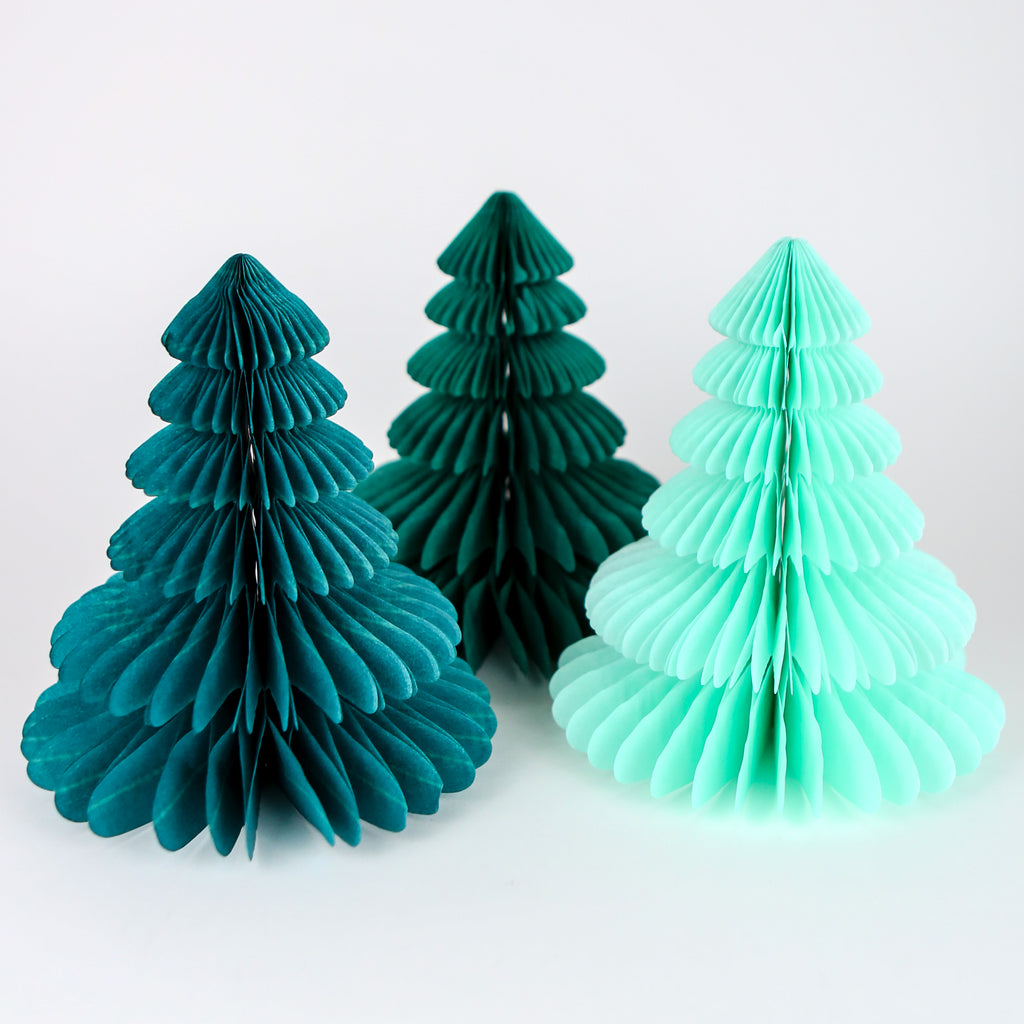 Honeycomb Christmas Trees - Green