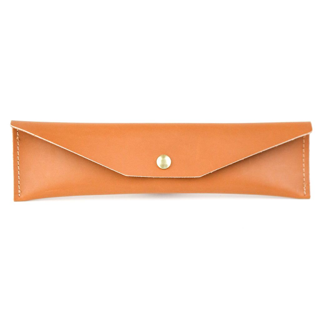 Leather Mini Pencil Case - Tan