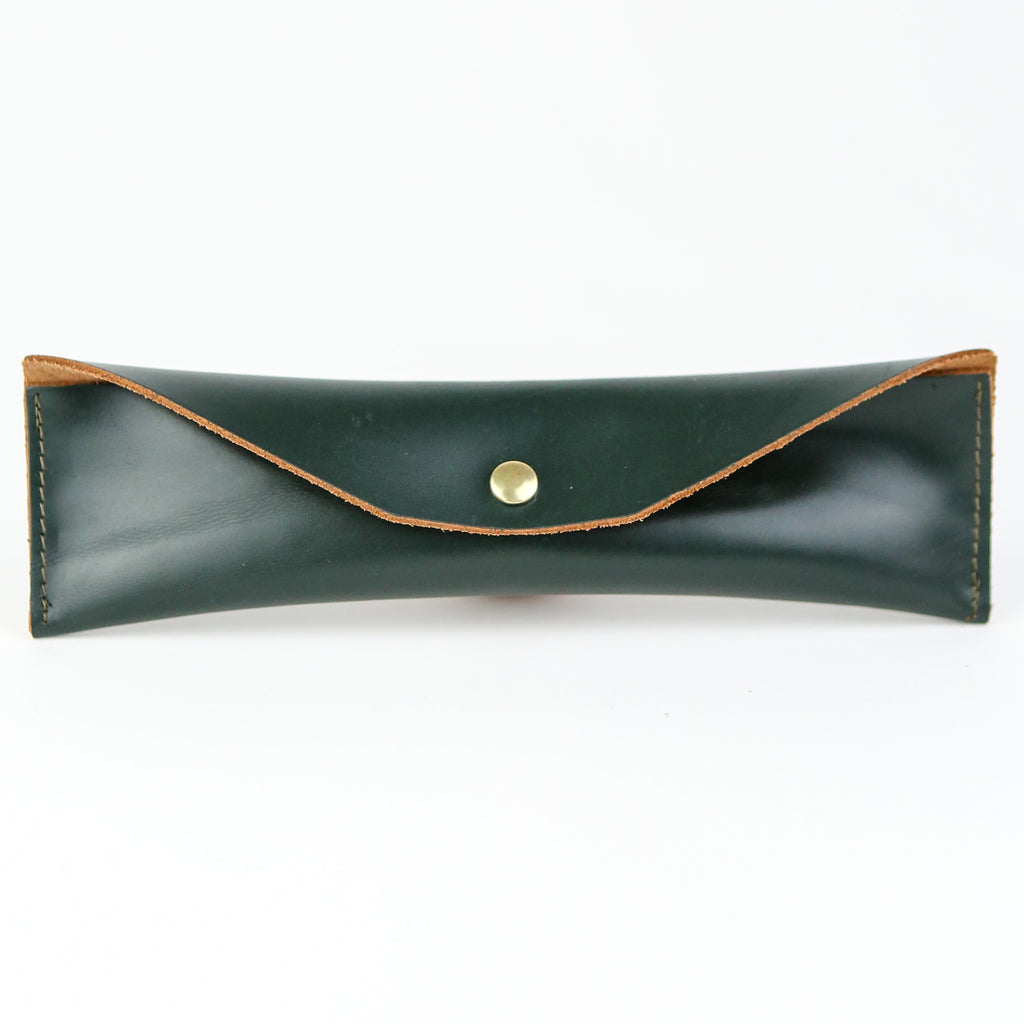 Leather Mini Pencil Case - Green