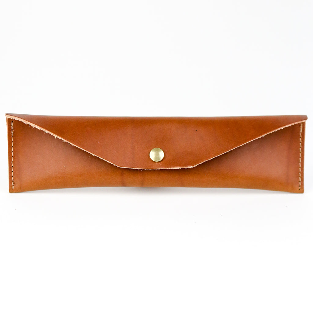 Leather Mini Pencil Case - Brown