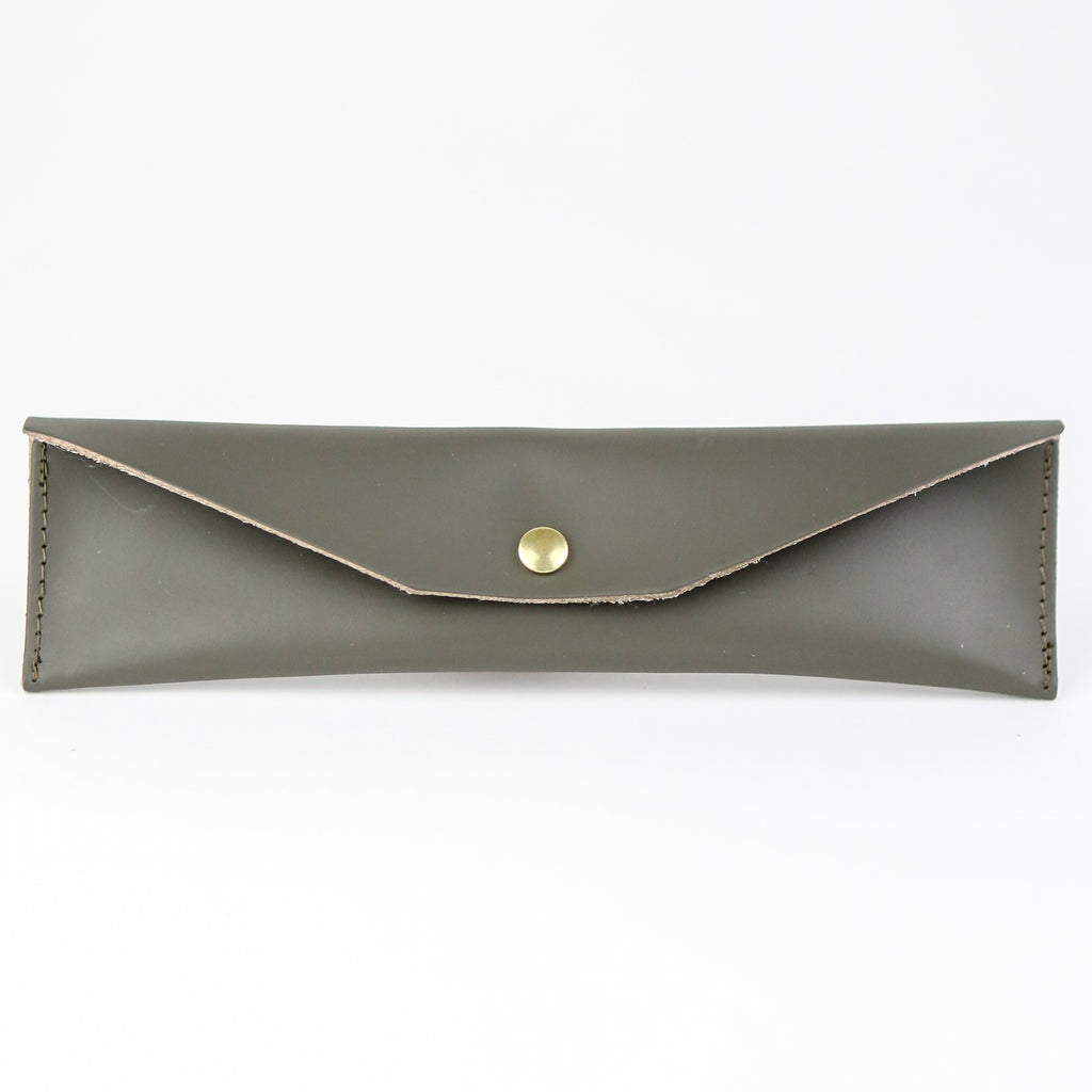 Leather Mini Pencil Case - Grey