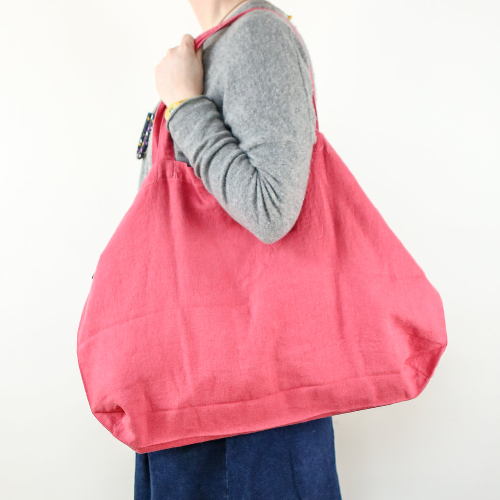 Washed Linen Sloppy Shoulder Bag - Magenta