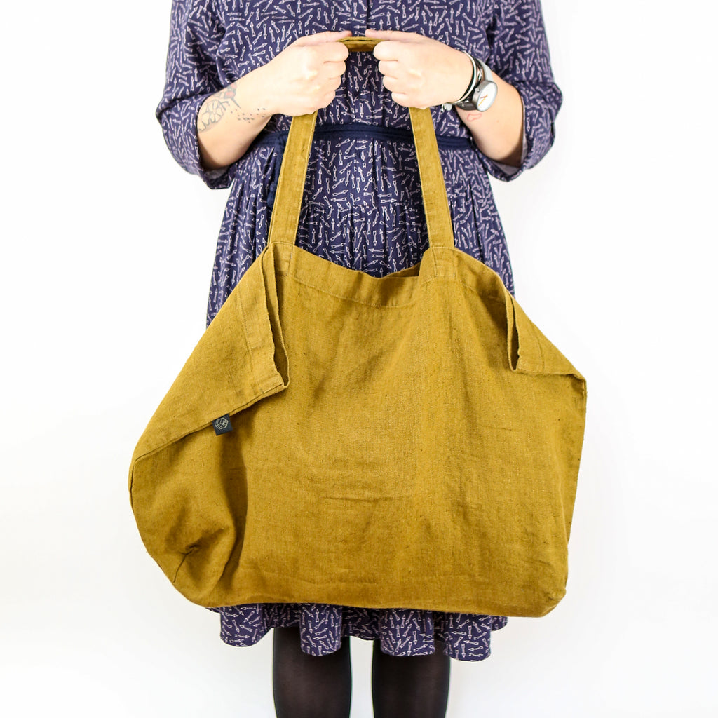Washed Linen Sloppy Shoulder Bag - Ochre