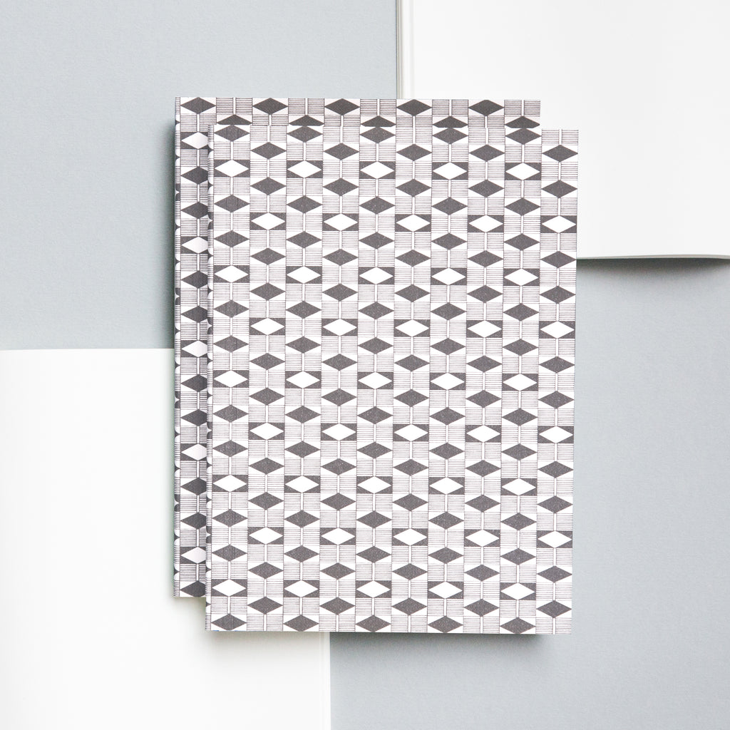 Grey Diamond Print Layflat Notebook