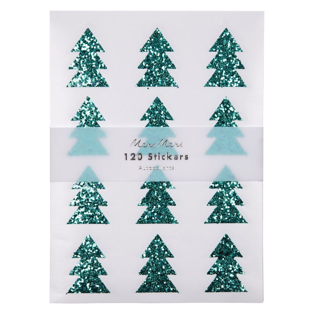 Green Glitter Christmas Tree Stickers