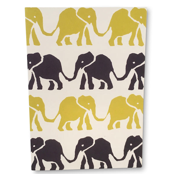 Navy and Yellow Elephants Greetings Card