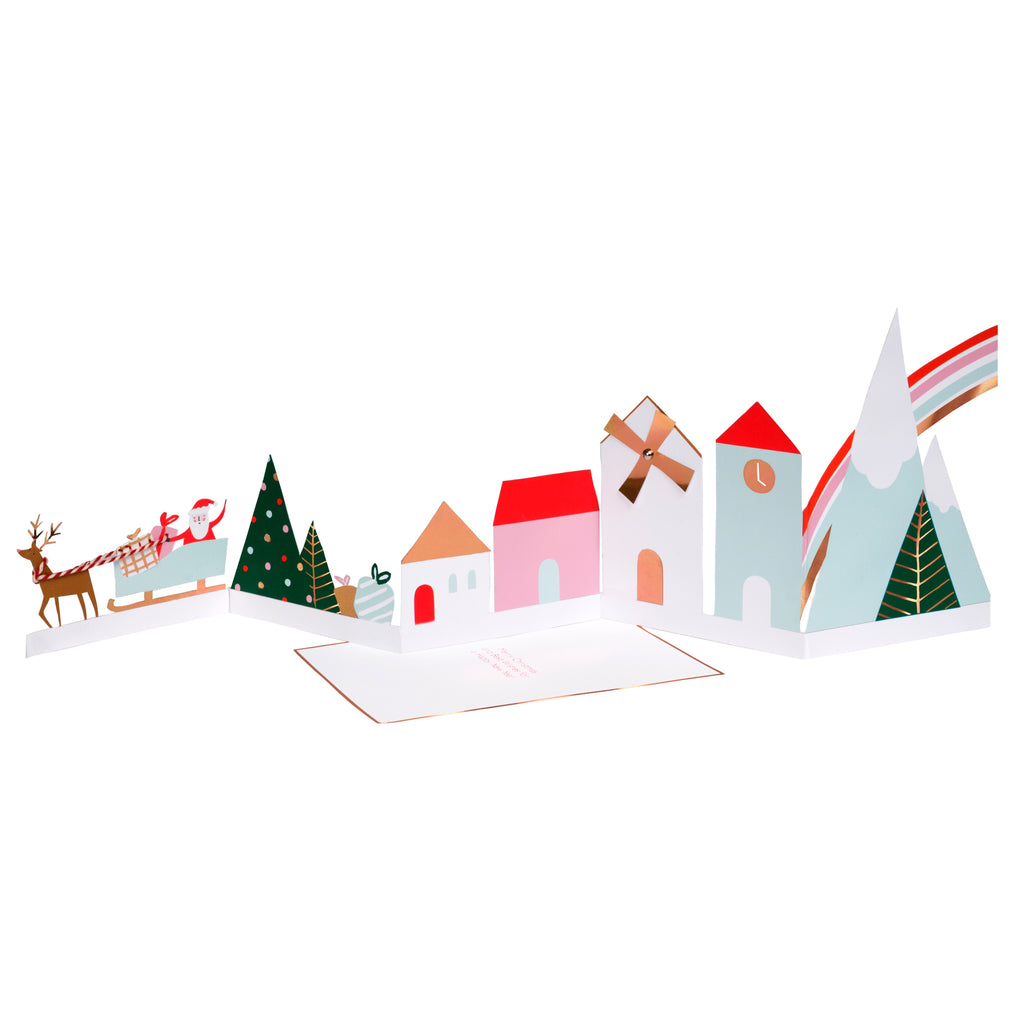 Festive Village Concertina Christmas Card