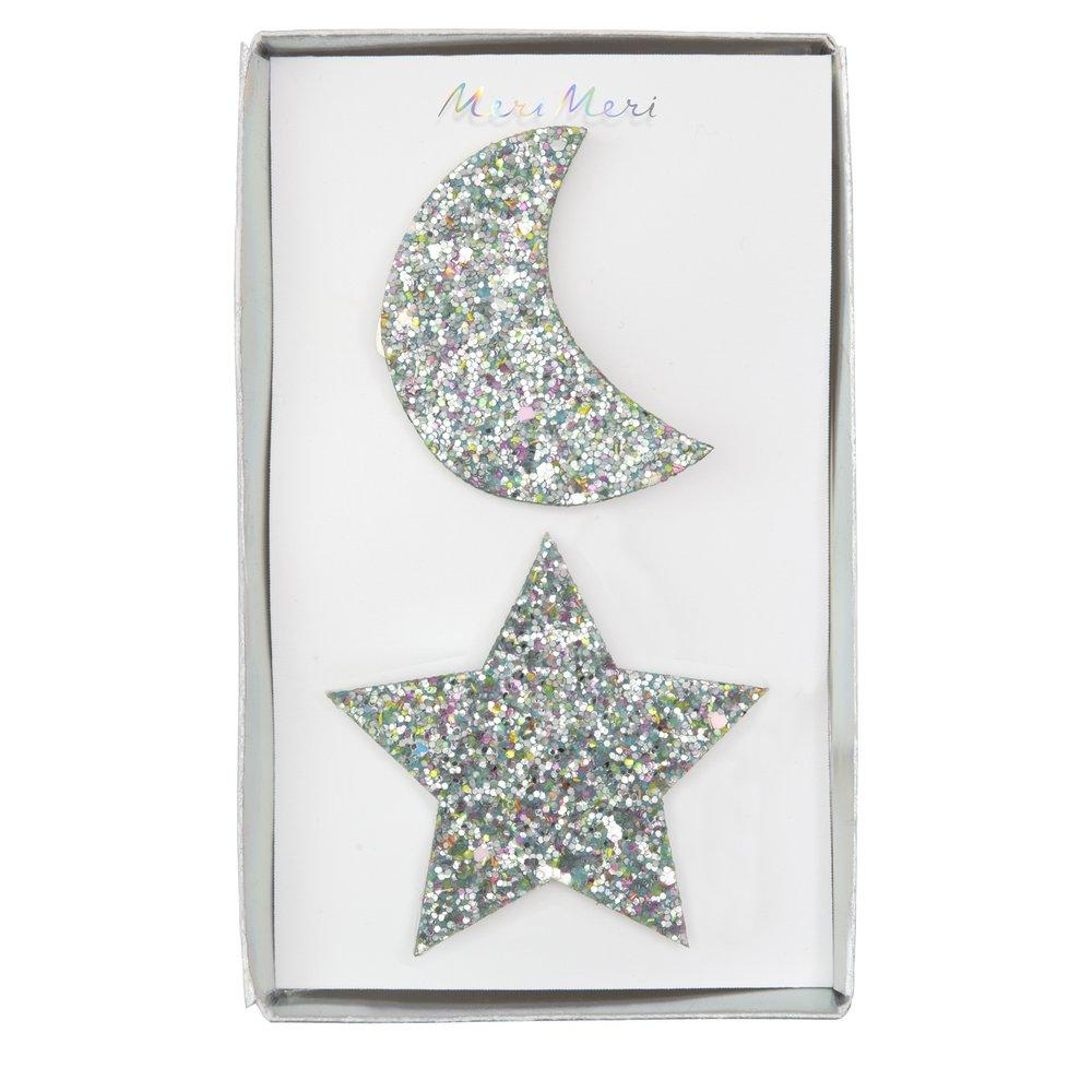 Large Glitter Moon and Star Hair Clips