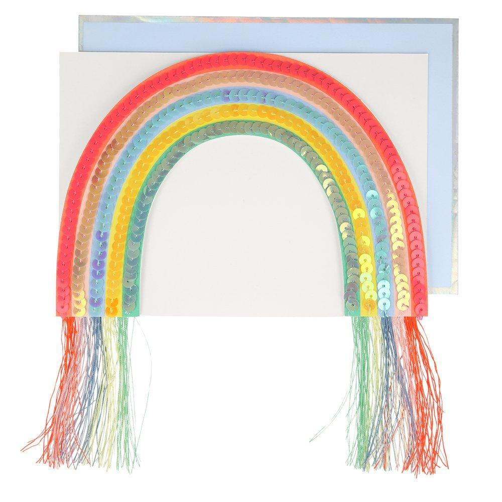Sequin Rainbow Stand Up Card