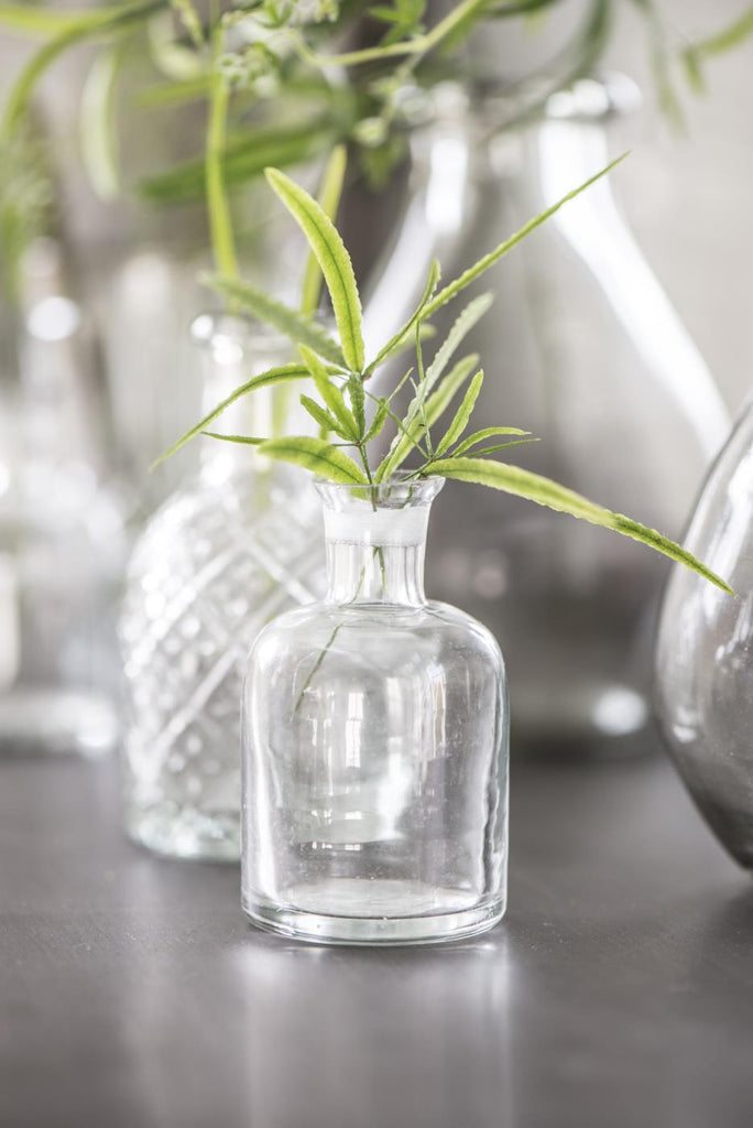 Small Glass Apothecary Bottles - Cut Glass