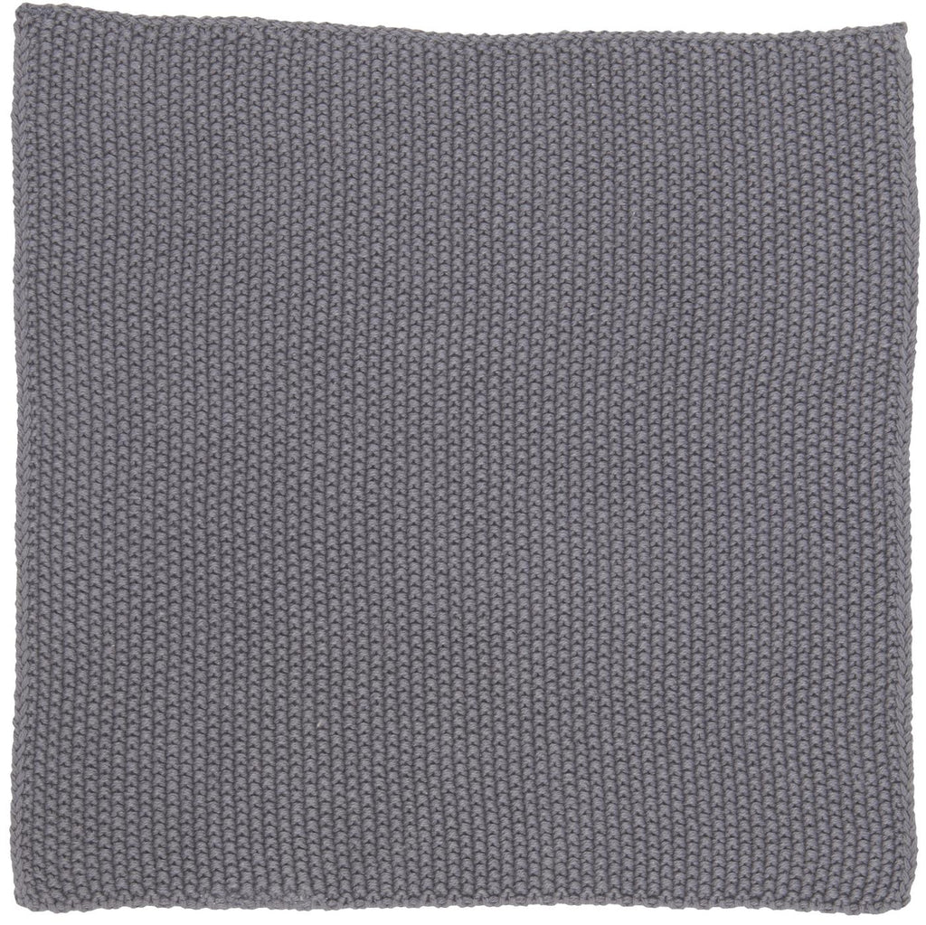 Knitted Cotton Dish Cloth - Dark Grey