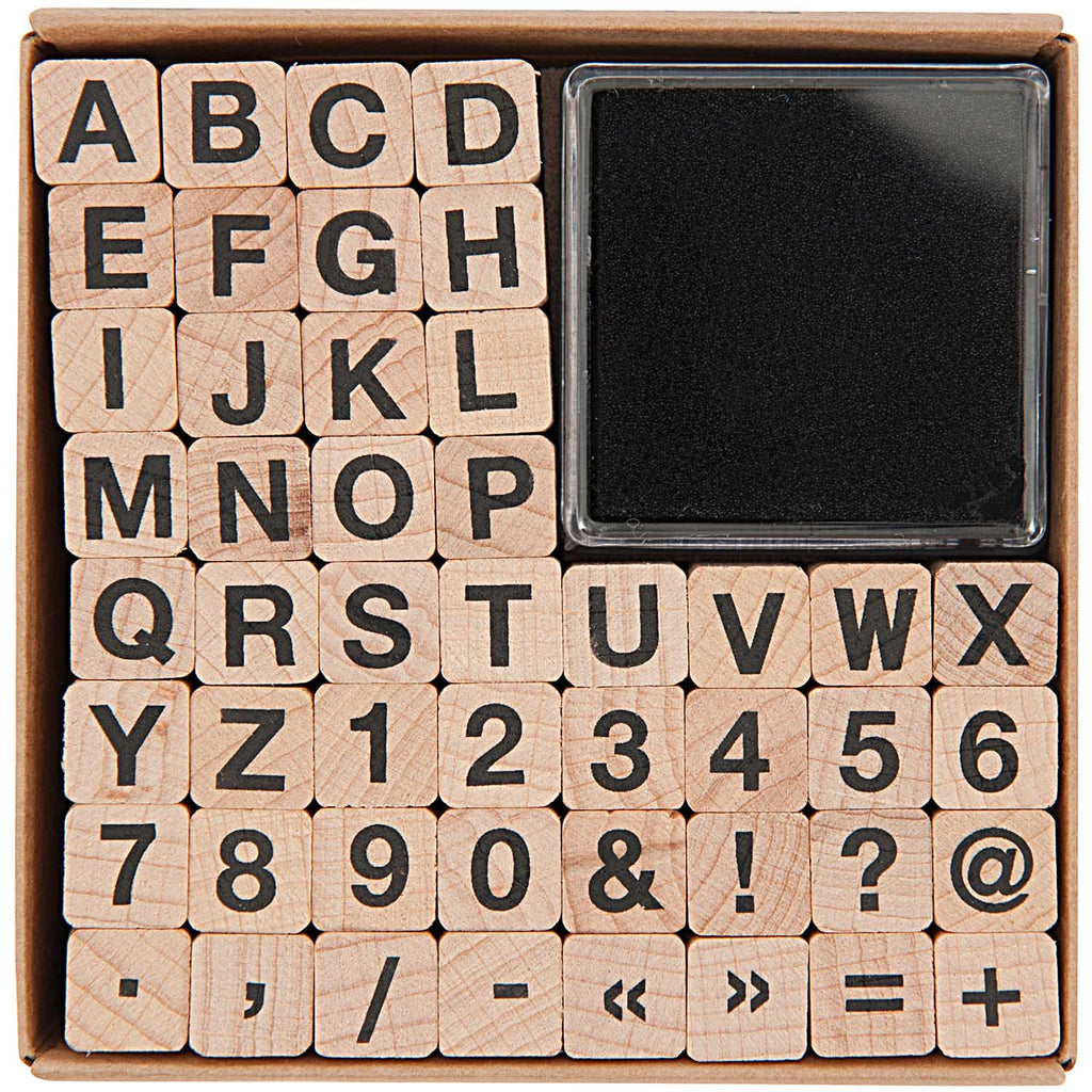 Alphabet, Number and Symbol Stamps, Plain Font