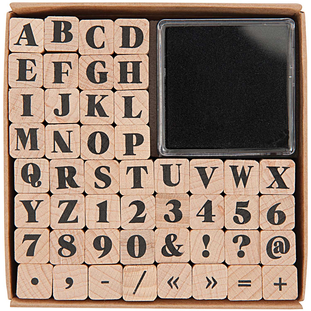 Alphabet, Number and Symbol Stamps, Serif Font