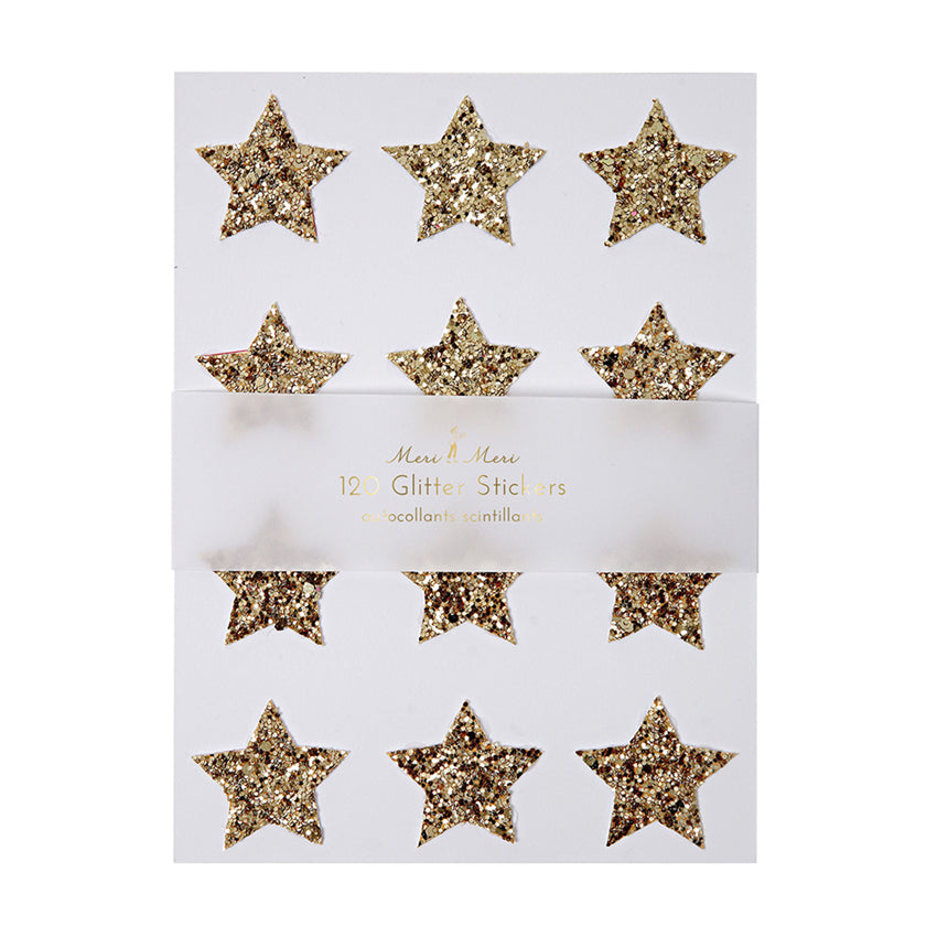 Gold Star Glitter Christmas Stickers