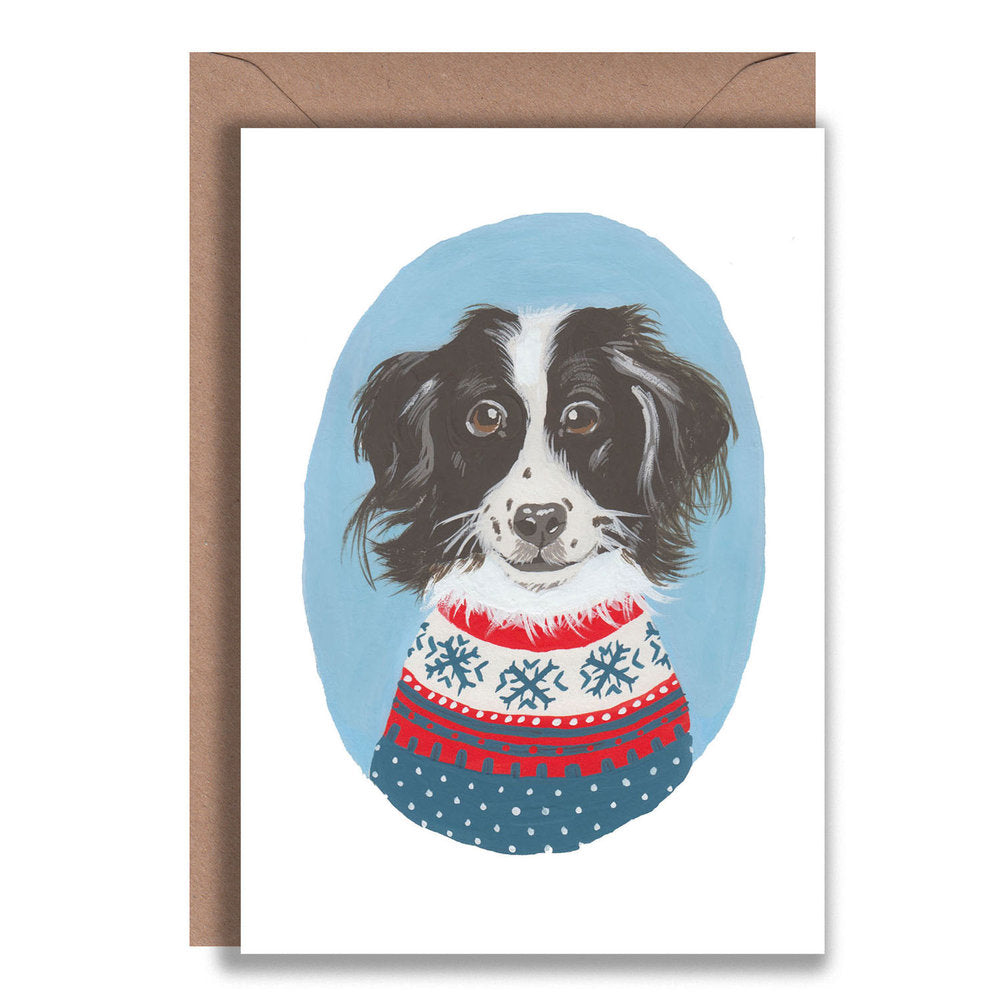 Border Collie Christmas Jumper Card