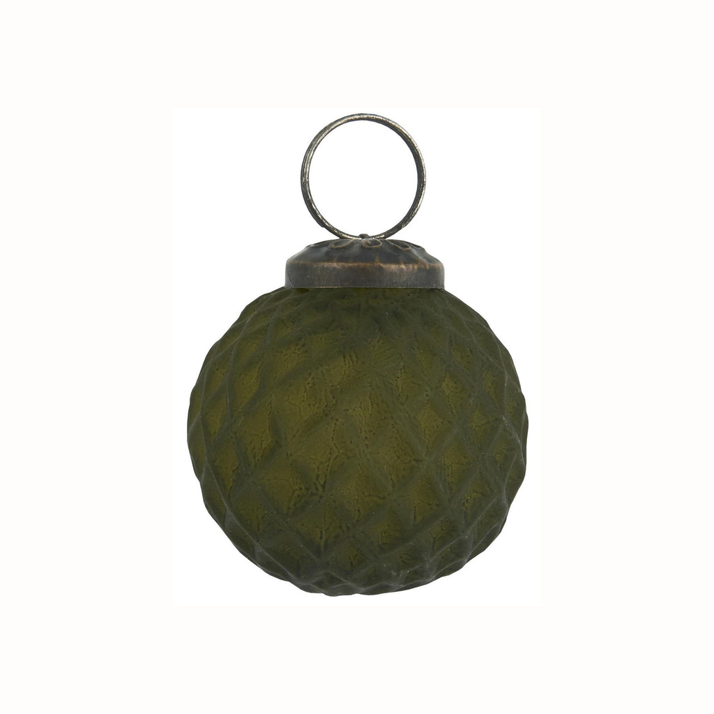 Glass Harlequin Ornament - Olive