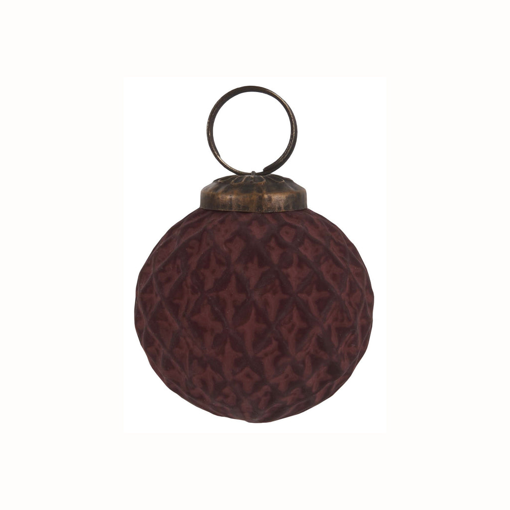 Glass Harlequin Ornament - Bordeaux