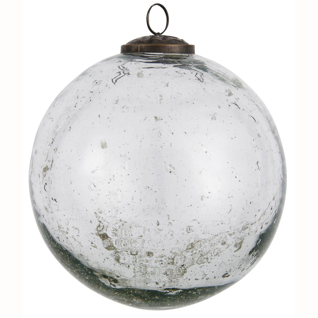 Large Pebbled Glass Ornament - Clear