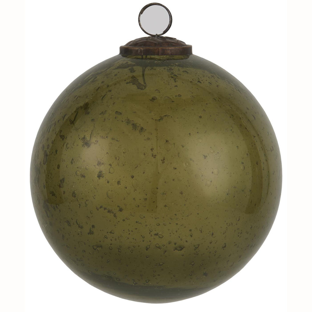 Large Pebbled Glass Ornament - Olive