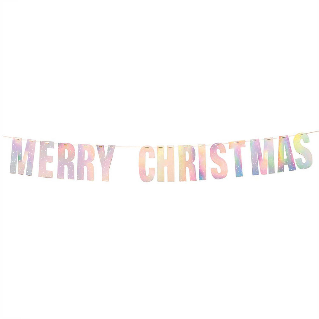 Merry Christmas Paper Garland - Iridescent with White Spots