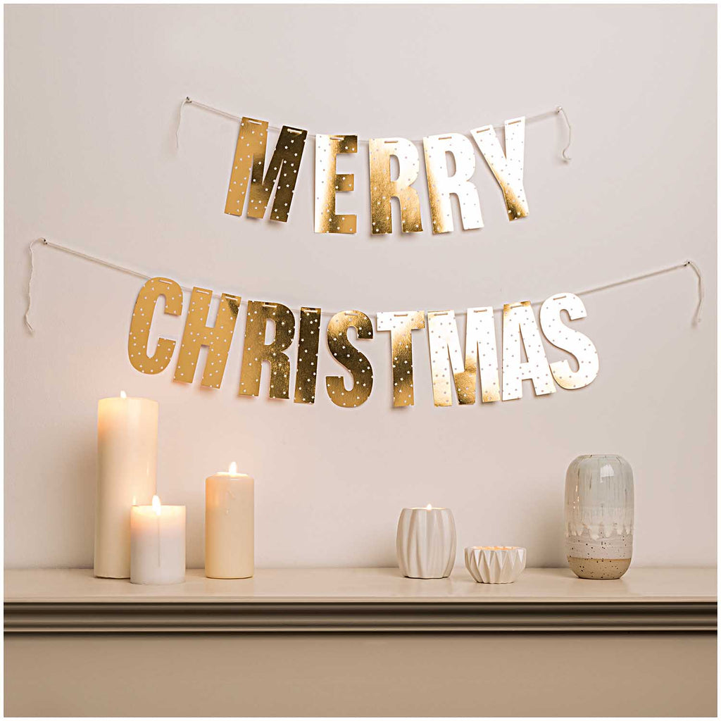 Merry Christmas Paper Garland - Gold with White Spots