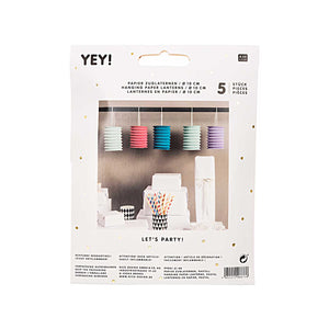 Pack of Five Pastel Paper Lanterns
