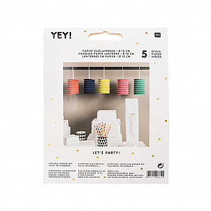 Pack of Five Bright Paper Lanterns