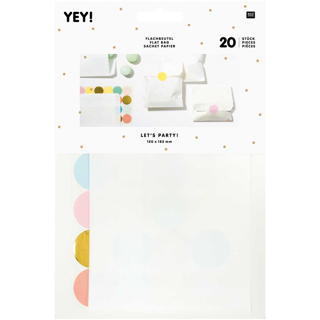 Pack of 20 White Flat Bags with Coloured Stickers