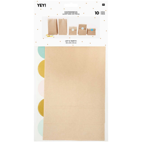 Pack of 10 Kraft Block Bottomed Bags with Coloured Stickers