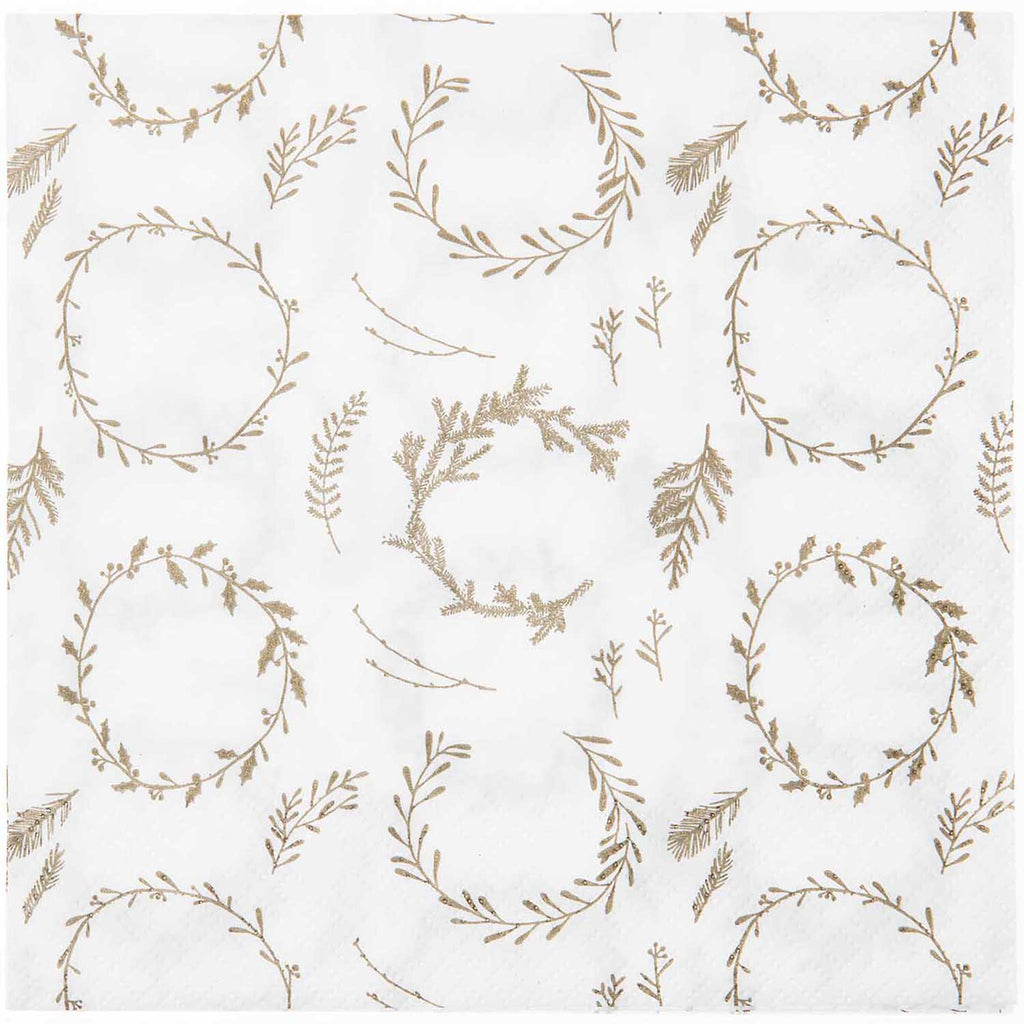 Pack of 20 Christmas Napkins - White Wreaths