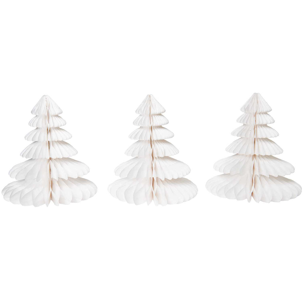 Honeycomb Christmas Trees - White