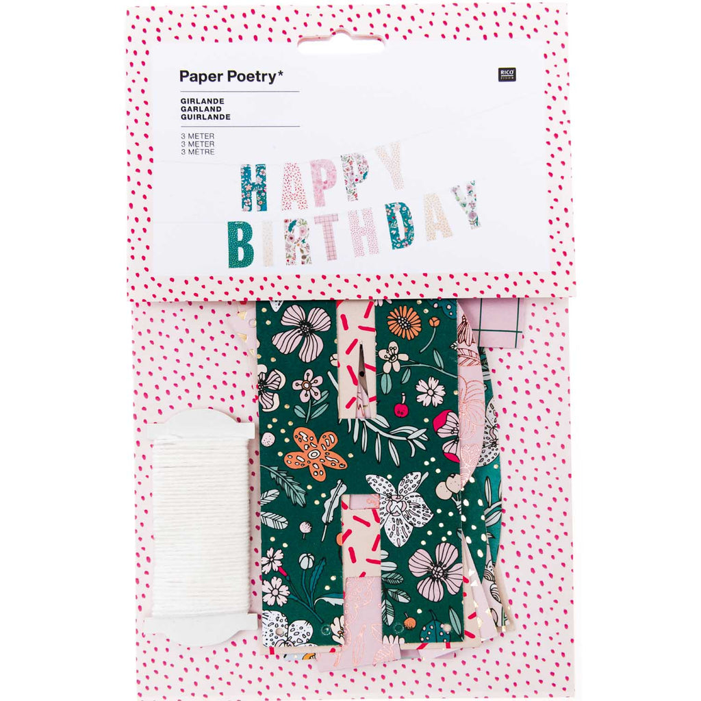 "'Happy Birthday"" Garland Set - Floral"