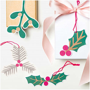 8 Jolly Christmas Gift Tags - Mistletoe and Holly