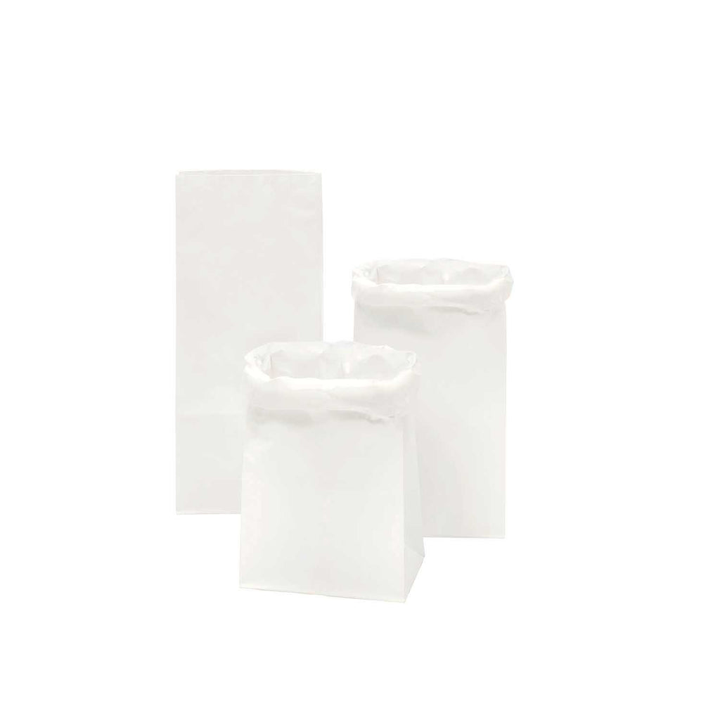 Block Bottom Paper Bags, White with White Inside - Small, 3 pieces