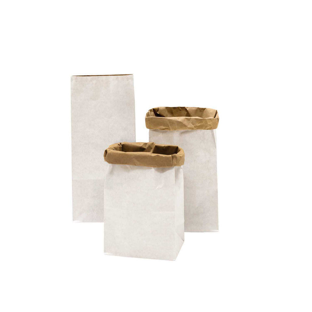 Block Bottom Paper Bags, White with Kraft Inside - Small, 3 pieces