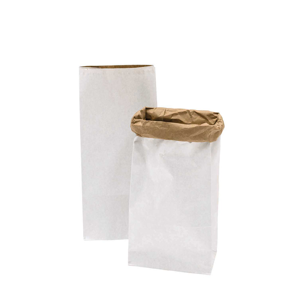 Block Bottom Paper Bags, White with Kraft Inside - Large, 2 pieces