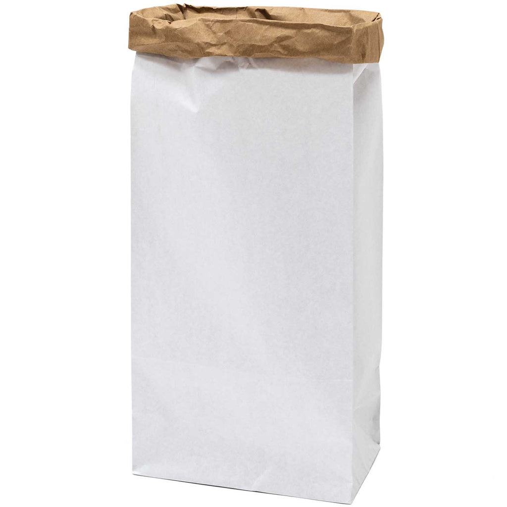 Block Bottom Paper Bags, White with Kraft Inside - Extra Large, 1 piece