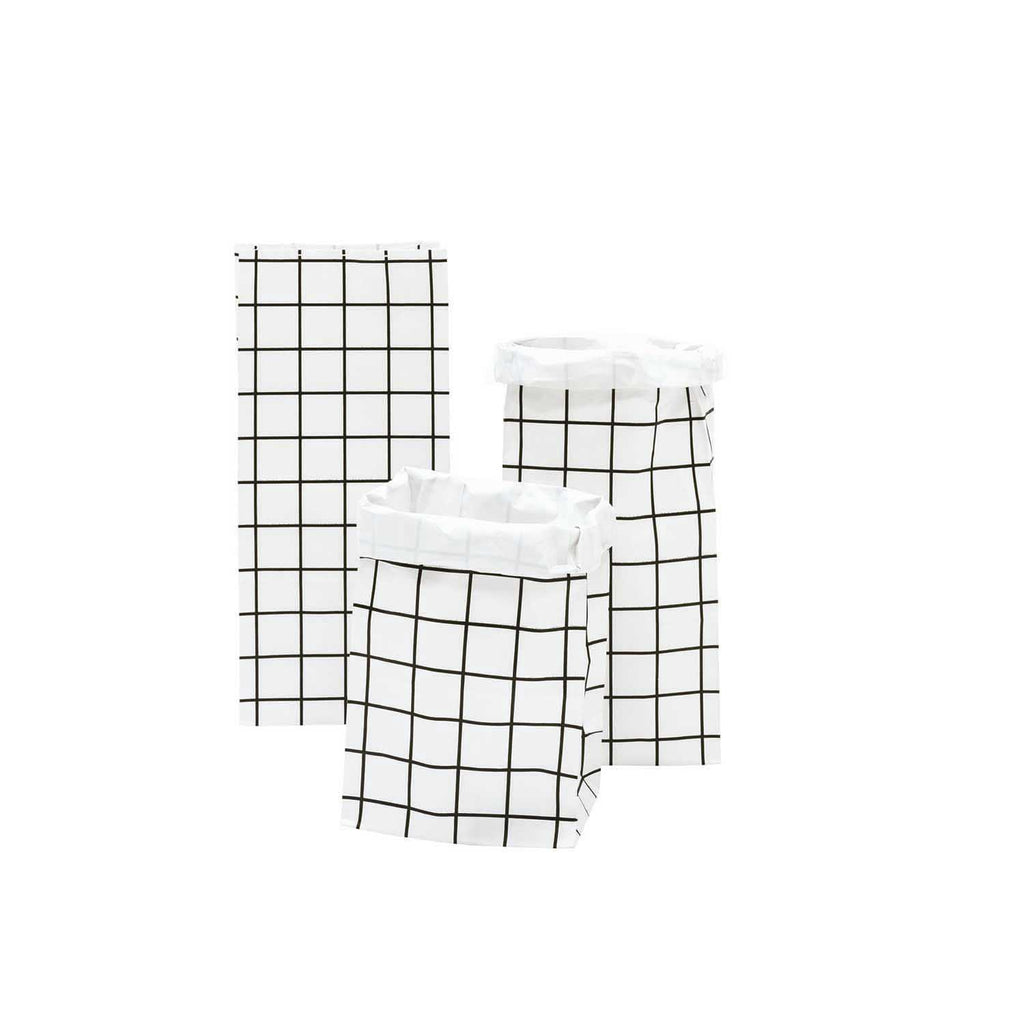 Block Bottom Paper Bags, Monochrome - Small, 3 pieces
