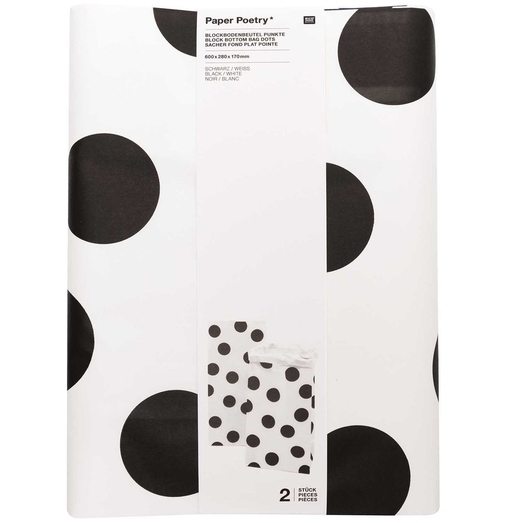 Block Bottom Paper Bags, Monochrome - Large, 2 pieces