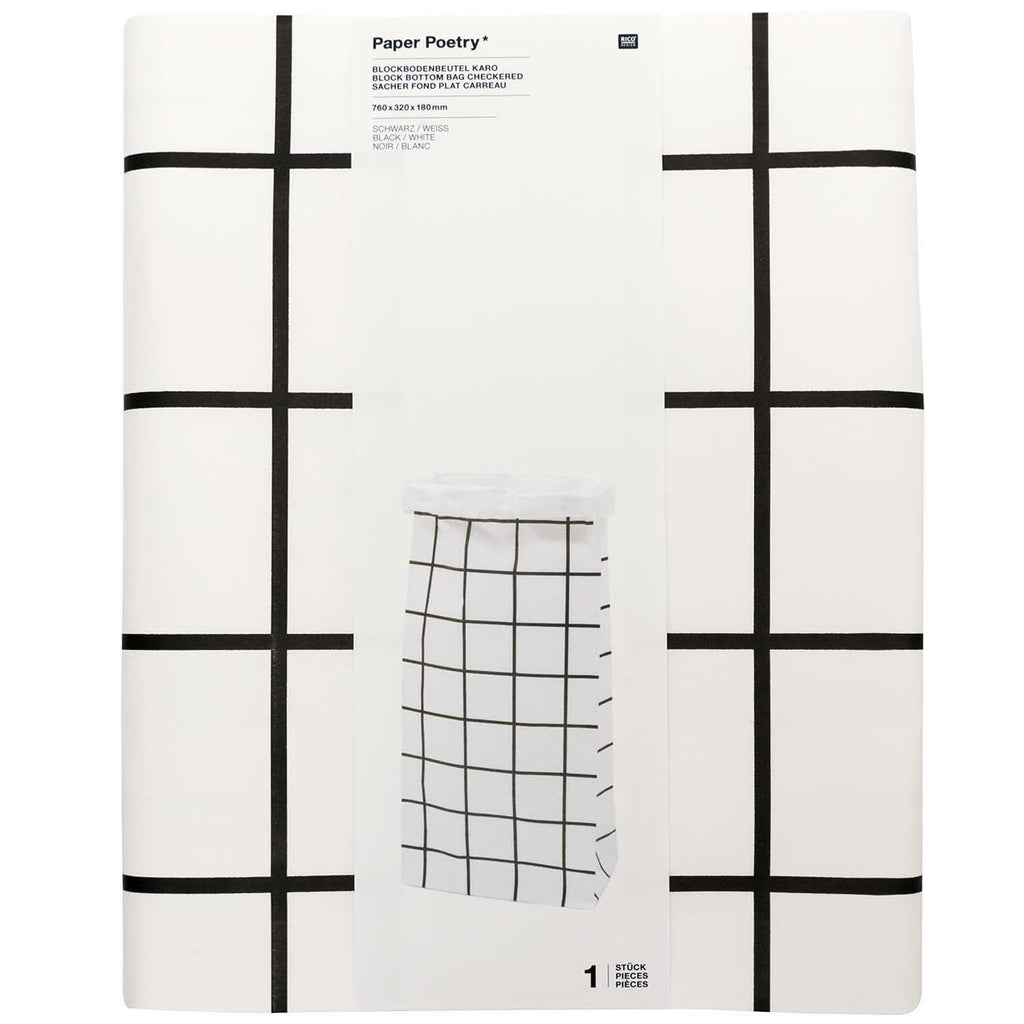 Block Bottom Paper Bags, Monochrome - Extra Large, 1 piece