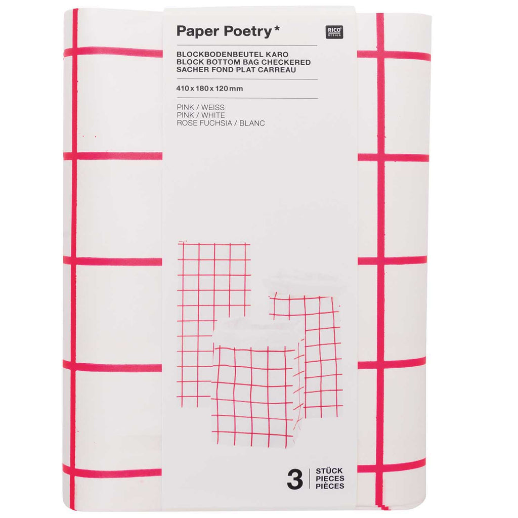 Block Bottom Paper Bags, Pink and White - Small, 3 pieces