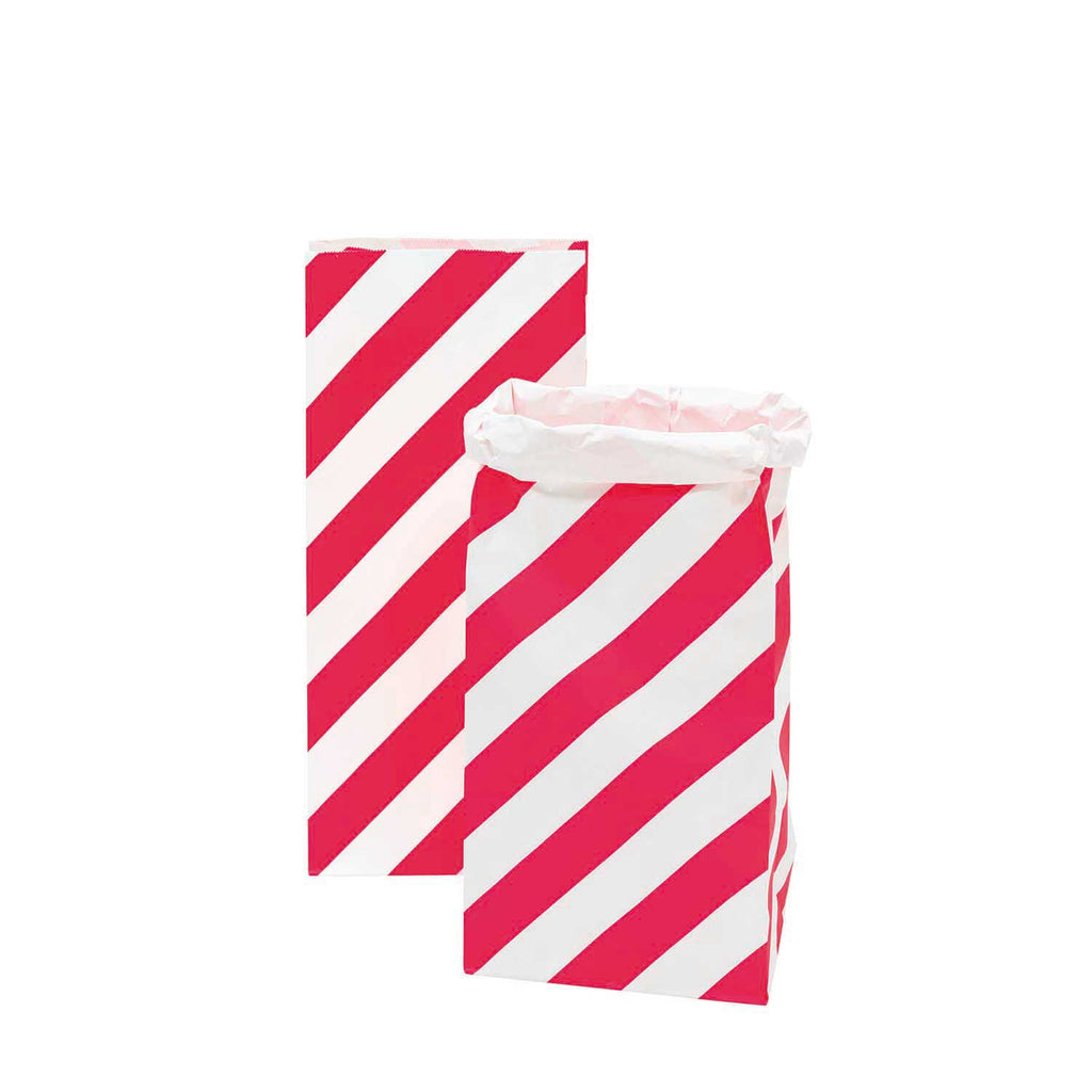Block Bottom Paper Bags, Pink and White - Medium, 2 pieces